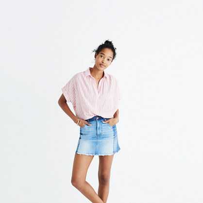 Pieced McCarren Raw-Hem Jean Skirt