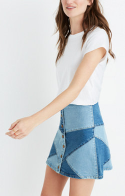 Pieced Jean Skirt