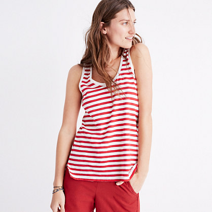 Whisper Cotton Scoop Tank Top in Suzi Stripe