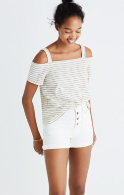 Cold-Shoulder Tee in Bellamy Stripe