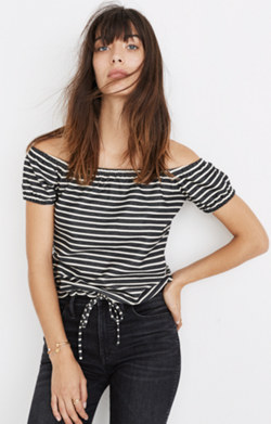 Striped Melody Off-the-Shoulder Top