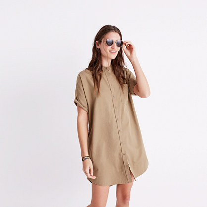 Khaki Button-Down Shirtdress