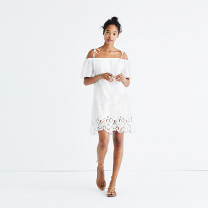 Eyelet Cold-Shoulder Dress