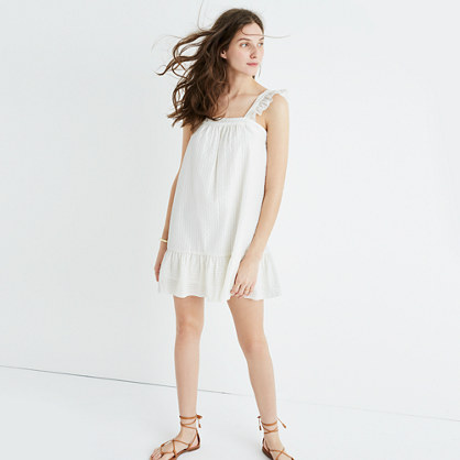 Metallic Stripe Ruffle Dress