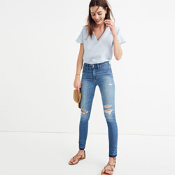 """Taller 9"""" High-Rise Skinny Jeans in Winifred Wash: Drop-Hem Edition"""
