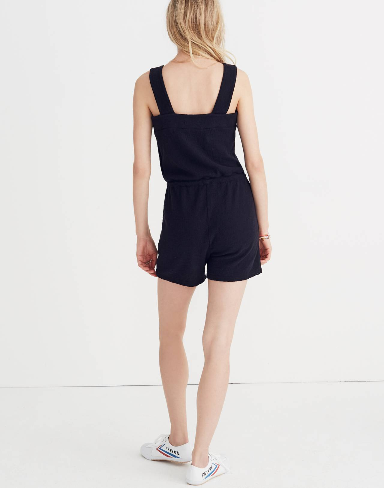 Side-Button Drawstring Romper in true black image 2