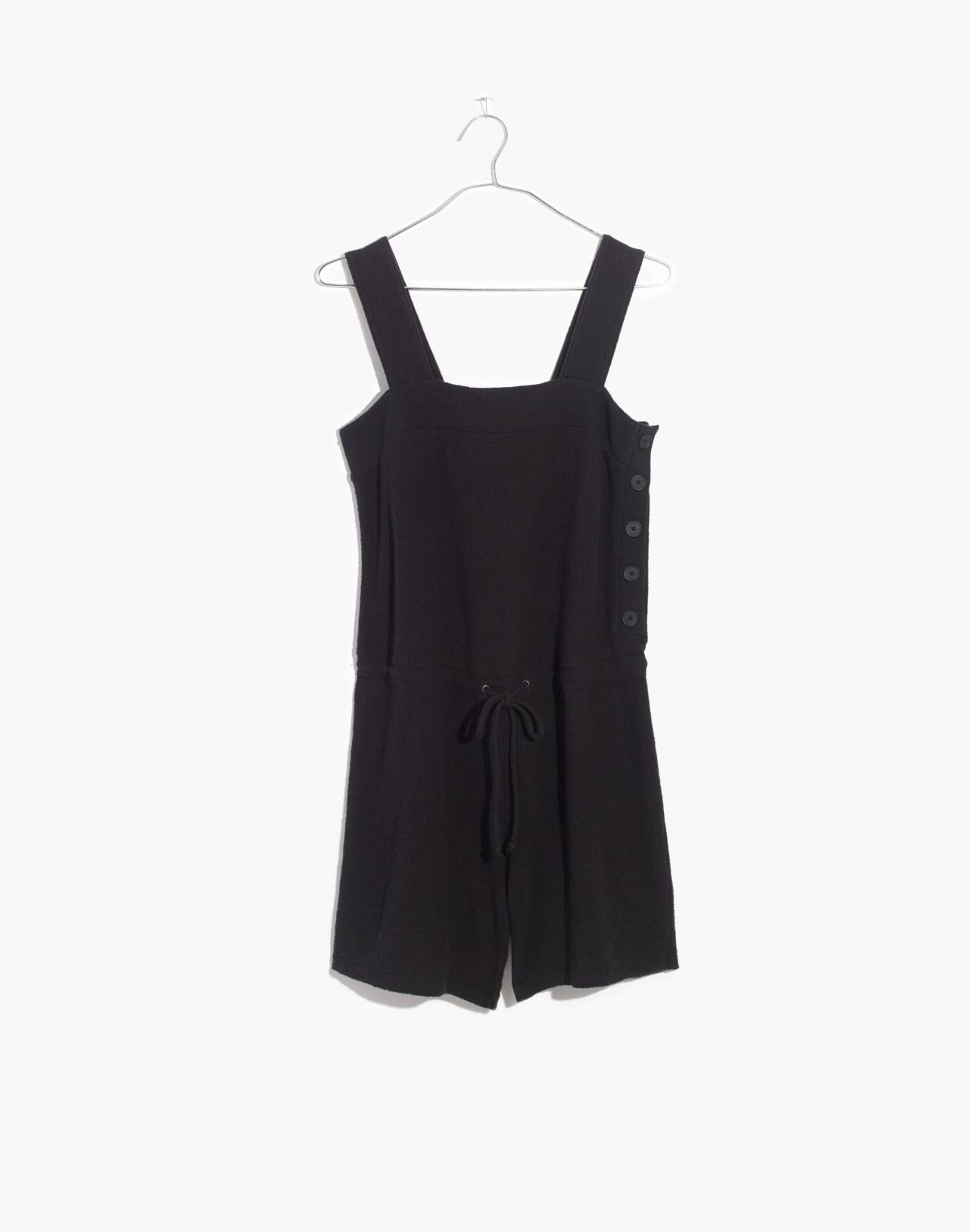 Side-Button Drawstring Romper in true black image 4
