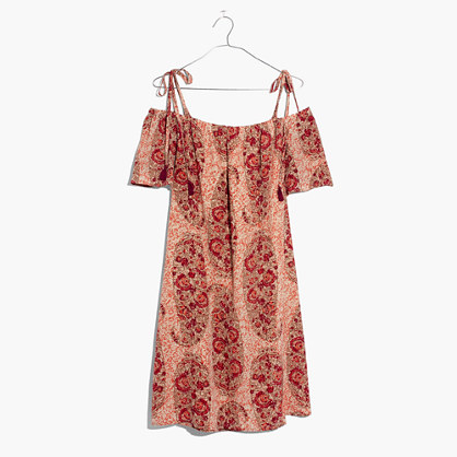 Silk Cold-Shoulder Dress in Watercolor Paisley