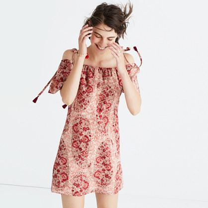 Silk Cold-Shoulder Dress in Watercolor Paisley