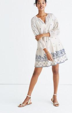 Jacquard Long-Sleeve Tunic Dress