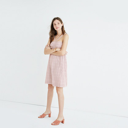 Silk Convertible Halter Dress in Echo Grid