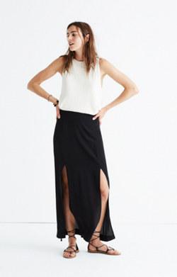 Silk Two-Slit Maxi Skirt