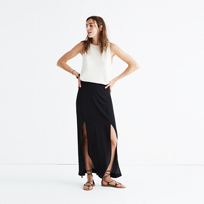 Silk Two-Slit Maxi Skirt