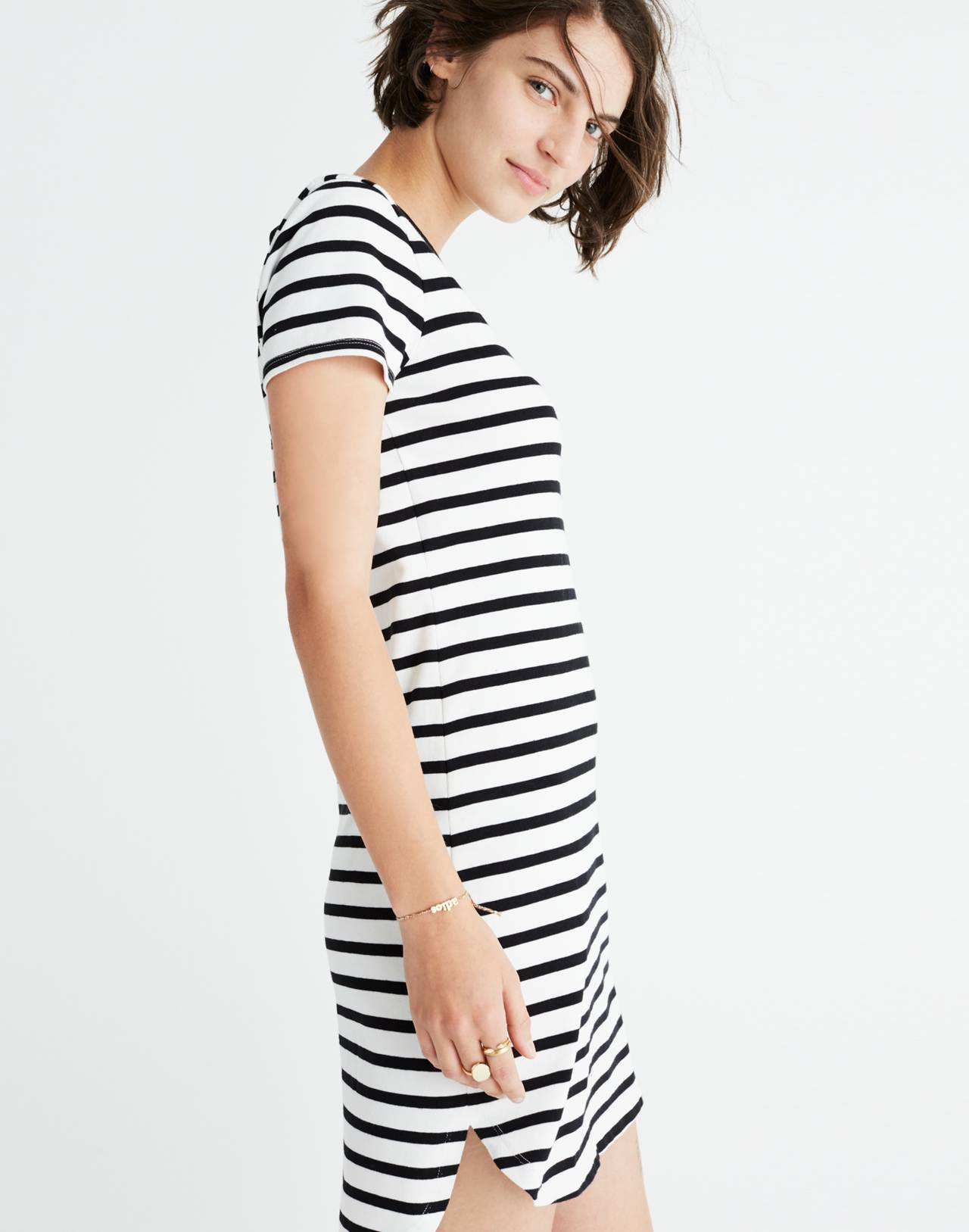 Striped Ringer Tee Dress in bright ivory image 2