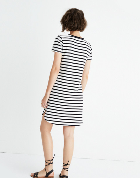 Striped Ringer Tee Dress in bright ivory image 3
