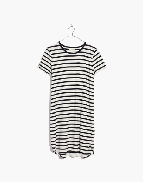 Striped Ringer Tee Dress in bright ivory image 4