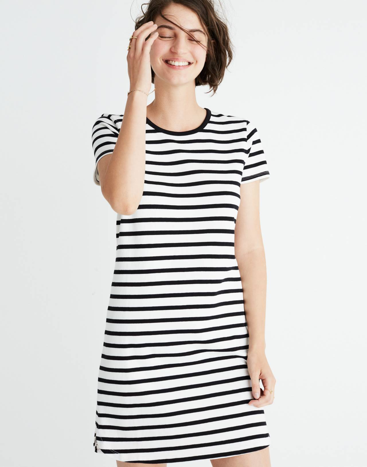 Striped Ringer Tee Dress in bright ivory image 1
