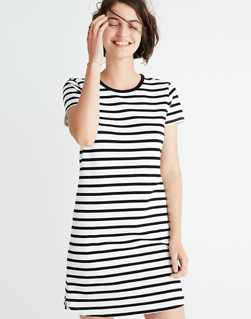 2c30f457b2 Striped Ringer Tee Dress in bright ivory image 1