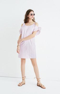 Rose Stripe Cold-Shoulder Dress