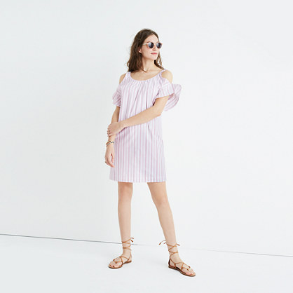 Rose Stripe Cold-Shoulder Dress