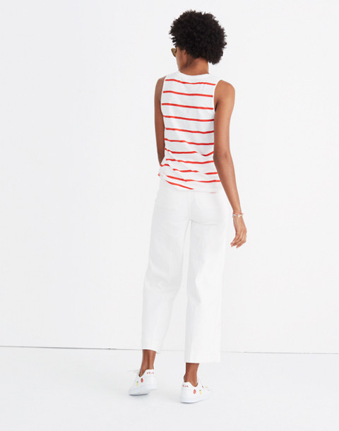 Whisper Cotton V-Neck Pocket Tank in Creston Stripe in red image 2