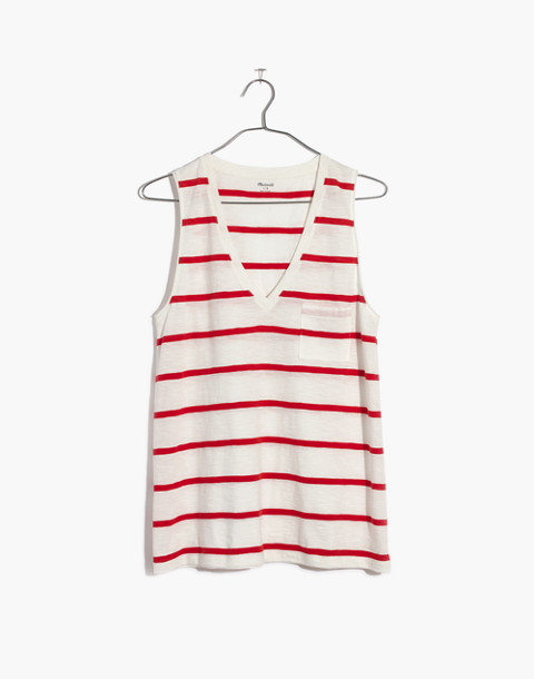 Whisper Cotton V-Neck Pocket Tank in Creston Stripe in red image 4