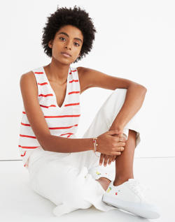 Whisper Cotton V-Neck Pocket Tank in Creston Stripe