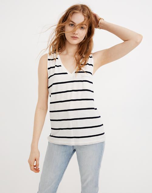 a32de3502a03a Whisper Cotton V-Neck Pocket Tank in Creston Stripe in peppy stripe bright  ivory image