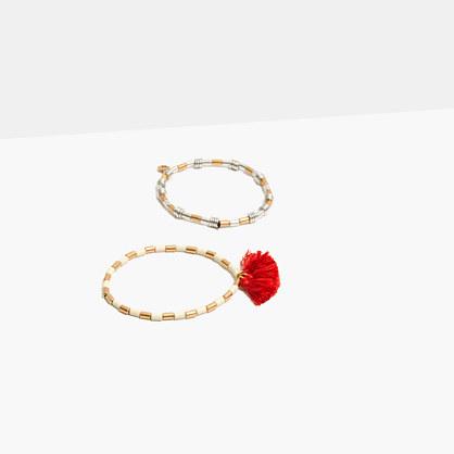 Two-Pack Beaded Tassel Bracelets in Modern Orange