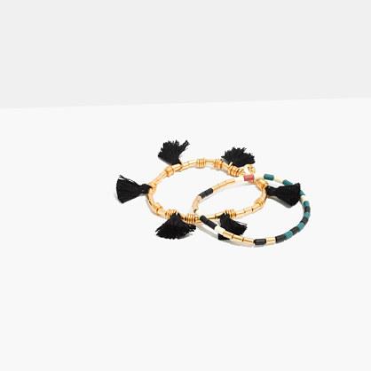 Two-Pack Beaded Tassel Bracelets in True Black