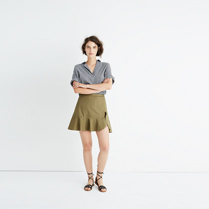 Ruffle-Wrap Mini Skirt in Expat Olive