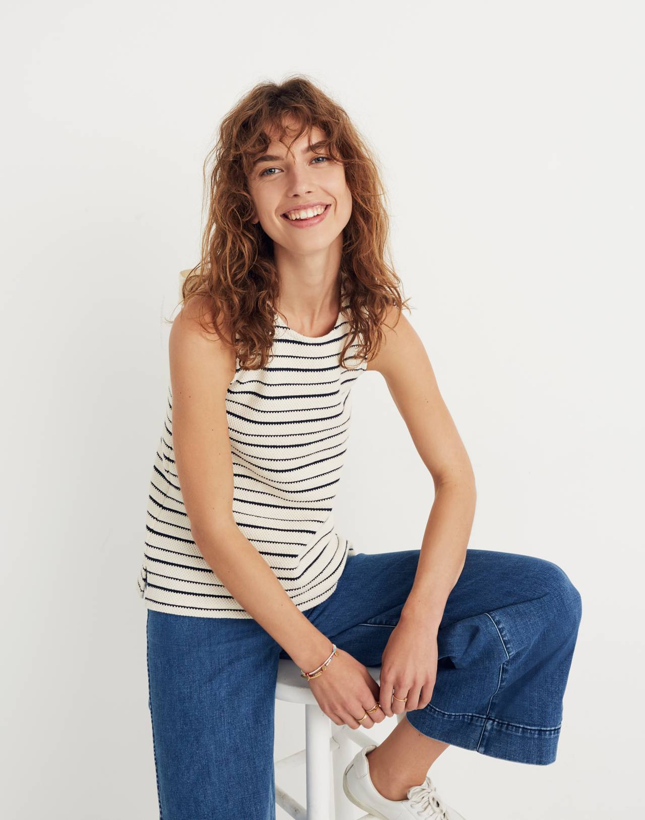 Texture & Thread Striped Bow-Back Tank Top in bleached linen image 2