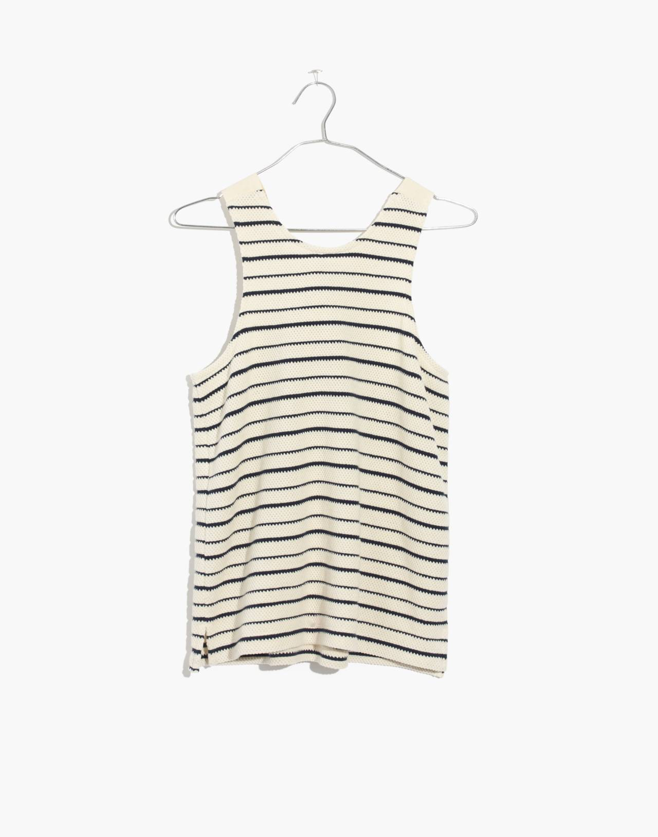 Texture & Thread Striped Bow-Back Tank Top in bleached linen image 4