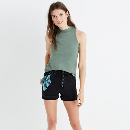 Mockneck Shirttail Tank Top