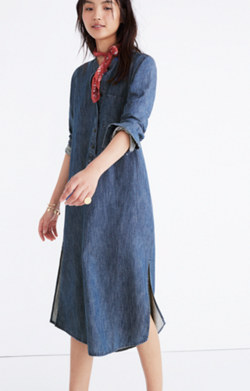 Denim Midi Popover Shirtdress