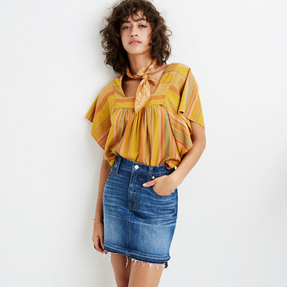 Step-Hem Jean Skirt in Brandt Wash