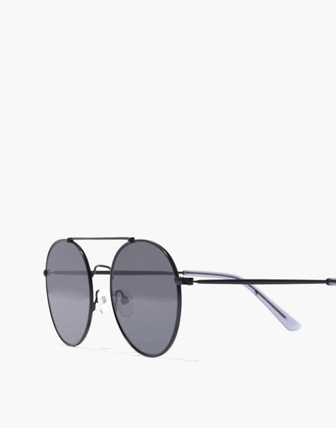 Asbury Aviator Sunglasses in matte black metal image 2
