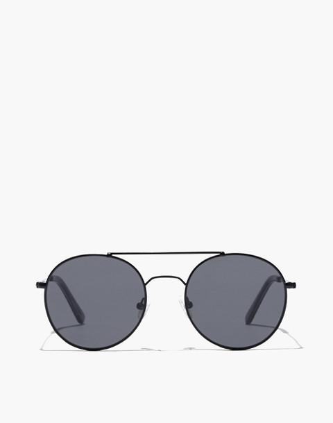 Asbury Aviator Sunglasses in matte black metal image 1