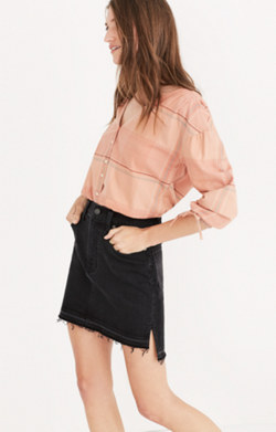 Step-Hem Jean Skirt in Washed Black