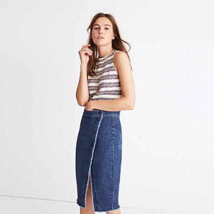 Raw-Hem Denim Midi Skirt