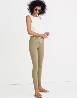 "Short 9"" High-Rise Skinny Jeans: Raw-Hem Garment-Dyed Edition"
