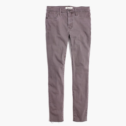 "9"" High-Rise Skinny Jeans: Raw-Hem Garment-Dyed Edition"