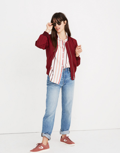 Side-Zip Bomber Jacket in dusty burgundy image 2
