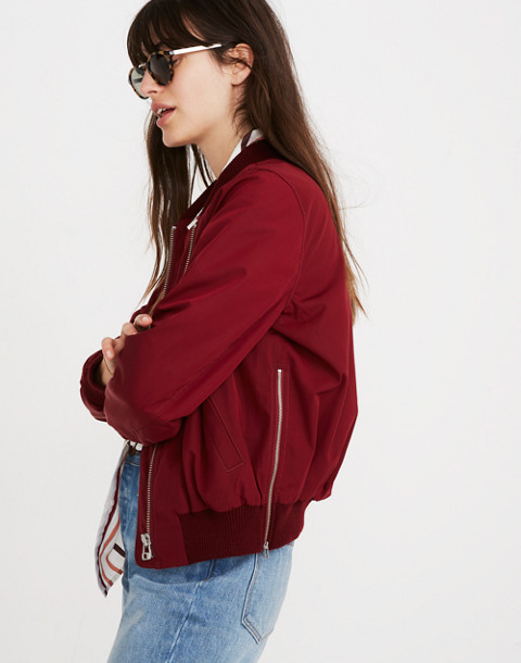 Side-Zip Bomber Jacket in dusty burgundy image 3