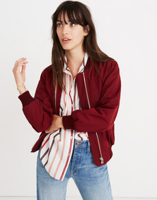Side-Zip Bomber Jacket in dusty burgundy image 1