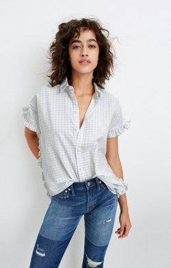 Windowpane Ruffle-Side Shirt