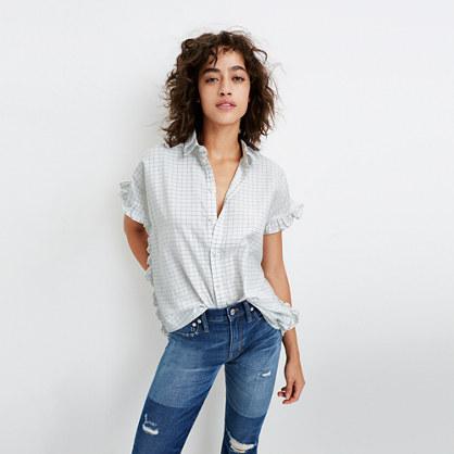 Windowpane Ruffle-Side Shirt