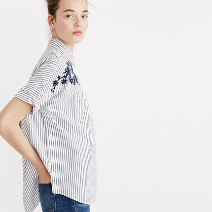 Embroidered Courier Side-Button Shirt in Stripe