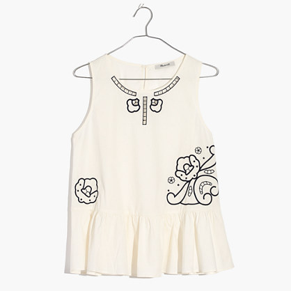Embroidered Peplum Tank Top