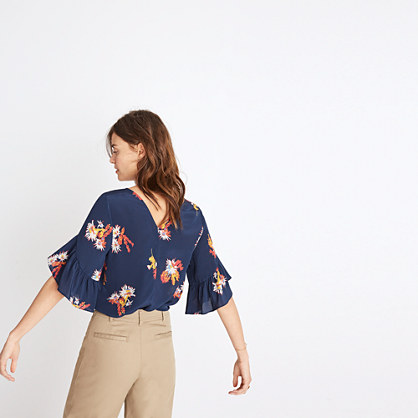 Silk Ruffle-Sleeve Top in Cactus Flower